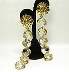 80s Poggi Paris Ornate Glass 5 Inch Long Drop Earrings