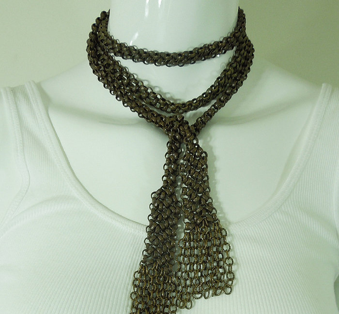 80s Couture Long Lariat Tassel Necklace Engraved Links