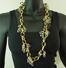 80s Balenciaga Necklace Cascading Glass Drops Links Goossens Design