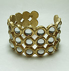 1990 Biche de Bere France Modernist Runway Bracelet Mirrored Stones