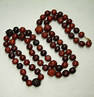 143 Grams Chinese Cognac Dark Butterscotch Amber Bead Necklace Carved