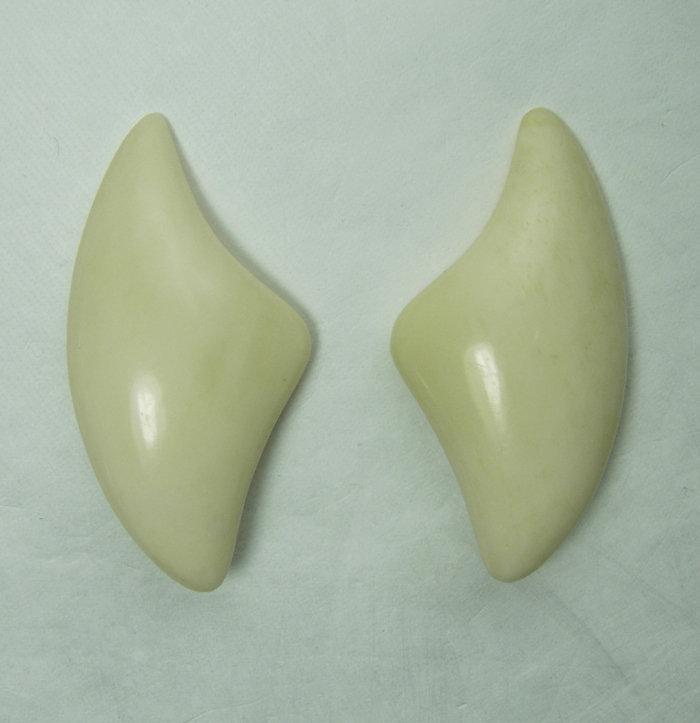 Vintage Signed Monies Carved Bone Modernist Earrings