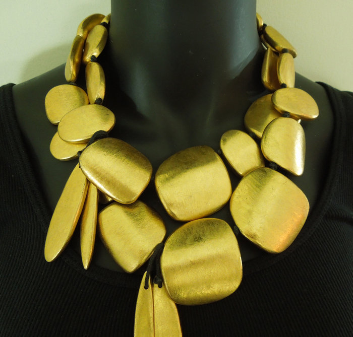 Vintage Monies Gilt Wood Leather Runway Statement Bib Drop Necklace