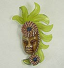 1940s Elzac Ceramic Green Lucite Figural Pin Book Piece