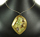 Stunning Signed Modernist Adamite Crystal Necklace