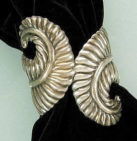 Villasana Taxco Sterling Feather Form Clamper Bracelet
