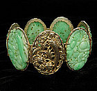 Early Chinese Silver Bracelet; 6 Very Big Carved Jades