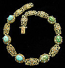 Austro Hungarian Silver Blue + Green Turquoise Necklace