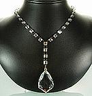Glittering Art Deco Sterling Crystal Sautoir Necklace