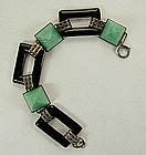 Art Deco Sterling Filigree Onyx, Peking Glass Bracelet