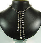 Deco Sterling Czech Crystal Front Back Draping Necklace