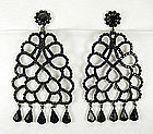 Kenneth Lane KJL 1960s Black Stones Japanned Earrings
