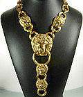 Kenneth Lane KJL Lion Door Knocker Diamante Necklace