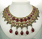Unsigned Schreiner Fuschia Egyptian Style Bib Necklace