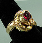 Art Nouveau 14KT Gold Ruby Diamond Snake Form Ring