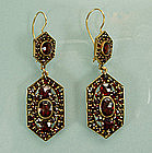 Lacy Antique Victorian Garnet Drop Pierced Earrings