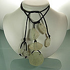 "Gerda Lynggaard Monies Lucite ""Ice"" Wrap Drop Necklace"
