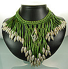 C 1940 Green Silk Cord and Shell Fringed Bib Necklace