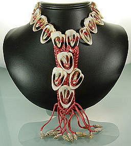C 1940 Coral Pink Silk Cord and Shell Drop Necklace