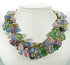 French 40s Pastel Poured Glass 3 Row Garland Necklace