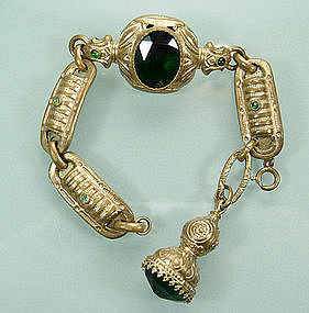 40s Victorian Revival Green Glass Charm Bracelet France