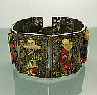 Chinese Silver Filigree Bone Figural 8 Panel Bracelet