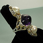 Arts & Crafts Silver Amethyst Pearl Carl Schon Ring