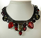 1970s Italian Bib Necklace Huge Red Topaz Purple Stones
