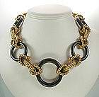 Robert Goossens Rope Form Metal Wood Necklace France