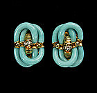 A. Seguso for Chanel Turquoise Glass, Diamante Earrings