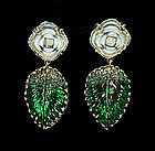 Luminous Green, Opaline Glass Drop Earrings:  France