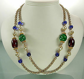 French Gripoix Glass Strass Beaded Chain Long Necklace