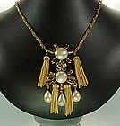 Faux Pearl Opaque Stones Fringed Necklace Set: France