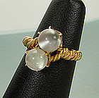 Victorian Etruscan Revival 14KT Gold Moonstone Ring