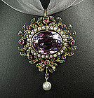 Georgian Gold Amethyst Ruby Emerald Pearl Pin / Pendant