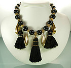 Yves Saint Laurent France Black Tasselled Bib Necklace
