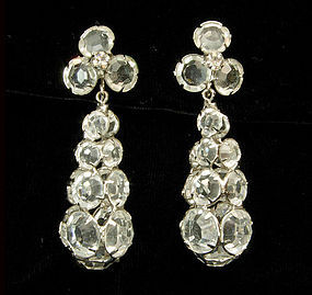 60s Drop Earrings Openback Unfoiled Lead Crystal Stones