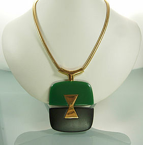 Lanvin Paris Green Black Snake Chain Pendant Necklace
