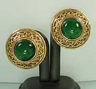 Chanel Byzantine Earrings Green Poured Glass Cabochons