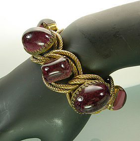Heavy Statement Bracelet Enormous Amethyst Glass Stones