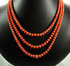 C 1930 3 Strand Pink Coral Beaded Necklace 14K Clasp
