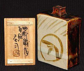 Mingei Pottery Vase, Ningen Kokuho Hamada Shoji