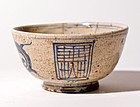Old Japanese Kyoto-Yaki Tea Bowl with Gold Repair