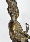 Chinese 100 year old Bronze Guan Yin on Foo Lion