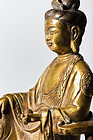 Chinese Bronze Gilt GuanYin 19th.cent.with Xuande mark