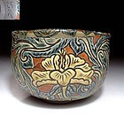 Meiji Period hand painted tea bowl with floral patterns