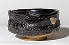 Kuro Oribe Chawan with fantastic black glaze - Edo Era