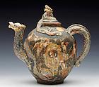 1880's Meiji Period Satsuma Dragon Teapot with holy men