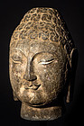 Chinese Stone Head of a Buddha - 16,5 KG - Ming Dynasty