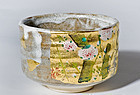Japanese Chawan with Shino glaze and gold leaf by Kinsai Iroe